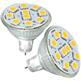 LE 1.8W MR11 GU4.0 LED Bulbs, 20W Halogen Bulbs Equivalent, GU4 Base, 165lm, 12V AC/DC, 120° Flood Beam, Warm White, 3000K, LED Light Bulbs, Pack of 2 Units