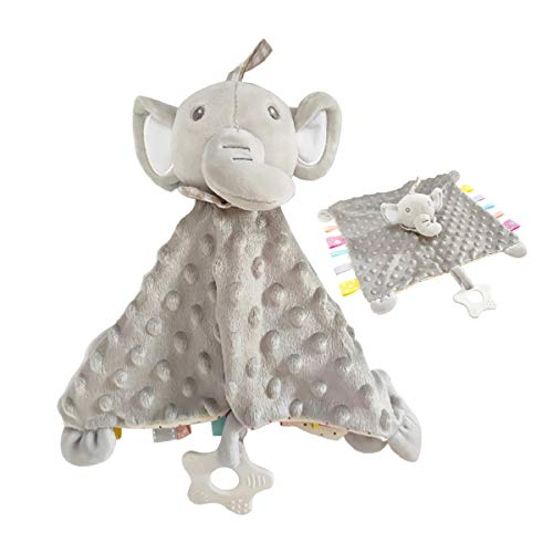 Baby Teething and Soothing Plush Toy Super Soft Flocking Cotton Baby Teething Blanket, Cute Animal Taggies for Babies Perfect (Grey Elephant)