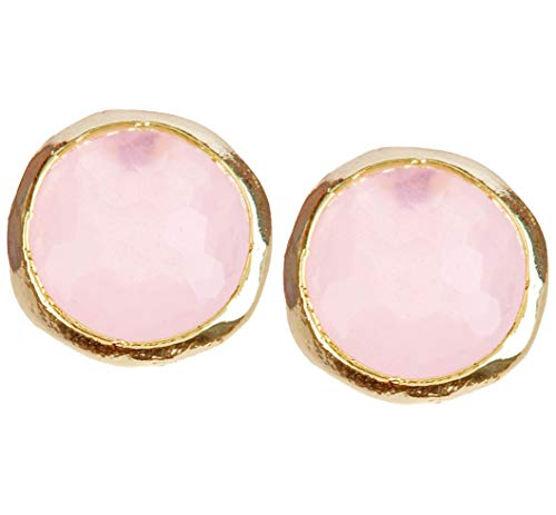 Rose Quartz 8mm Gold Clad Wholesale Gemstone Fashion Jewelry Post Earrings