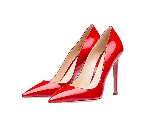 Guoar Donna Stiletto Scarpe Di Grandi Dimensioni Scarpe A Punta Da Donna Pompe Solide Per Lavoro Vestito Da Ballo Partito B-rosso Brevetto