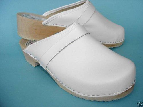 HOLZ (e) CLOGS - Pantolette Gr.40 Weiß, Echt Leder (Made in Poland 19.7.4-72)