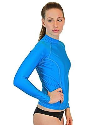 Swim Shirt For Women - Long Sleeve Rash Guard Top With UV 50 Skin / Sun Protection, Workout Shirt., Made In USA!
