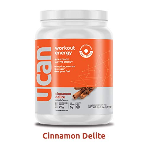 UCAN Workout Energy Powder 26.5oz, 30 Servings – No Added Sugar, Gluten Free, Vegan, Pre- and Post-Workout Drink, Keto Friendly Cinnamon