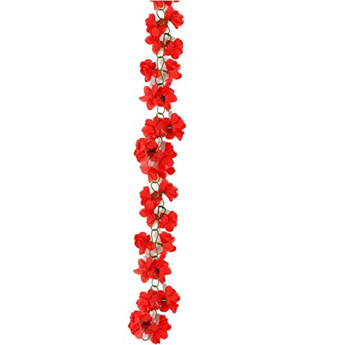 Price comparison product image Silk Azaleas - 2pcs Artificial Silk Azalea Flower Garland Vine Home Garden Wedding Decoration Red - Door Poster Tree Vines Pink Red Christmas Rose Rattan Wedding