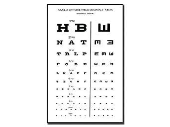 GIMA ref 31309 Mesa optométrica mixta decimal, 28x56cm, tabla para medir la agudeza visual a una distancia de trabajo de 6m