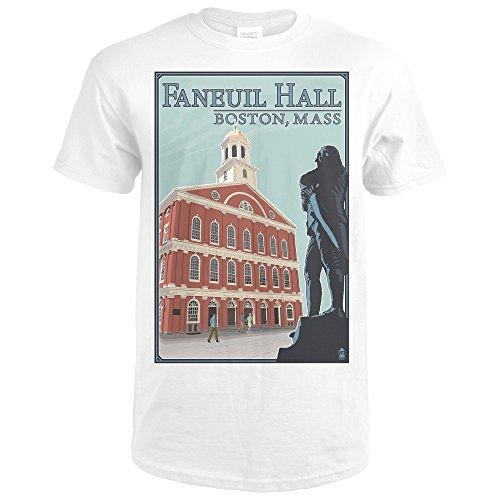 Boston, Massachusetts - Faneuil Hall (Premium White T-Shirt - Faneuil Marketplace Hall Boston