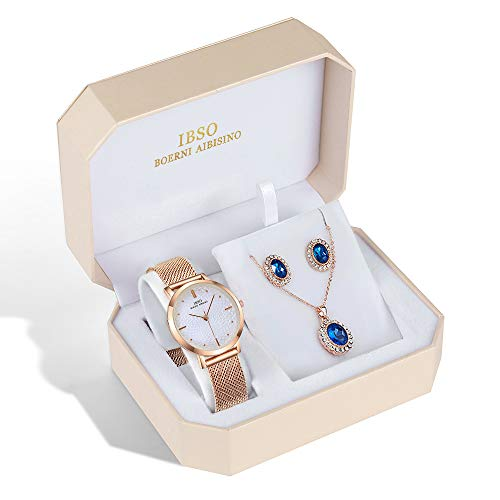 Women Gift Watch Sets Quartz Wrist Watches with Rose Gold Earring and Necklace 3 Sets for Christmas Valentine's Day Gifts (3629 RG XL003) from IBSO BOERNI AIBISINO