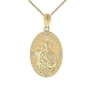 10k Yellow Gold Saint Joseph Diamond Oval Medal Pendant Necklace (1