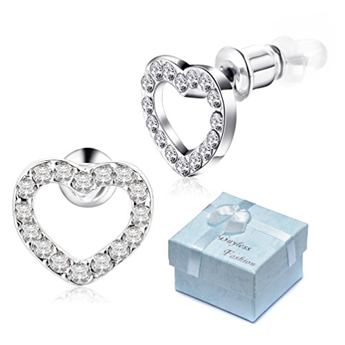 (Buyless Fashion Girls Heart Stud Earrings Surgical Stainless Steel -)