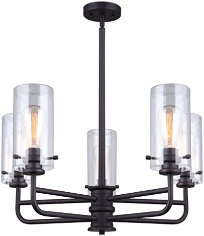Canarm Albany 5 Light Rod Chandelier with Clear Glass – Oil Rubbed Bronze