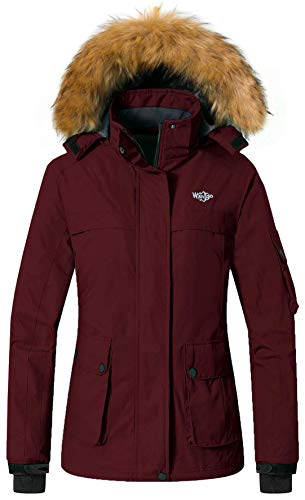 ain Ski Jacket Waterproof Rain Coat with Hood Windproof Winter Short Parka Anorak Casual Wear(Wine Red, Large) ()