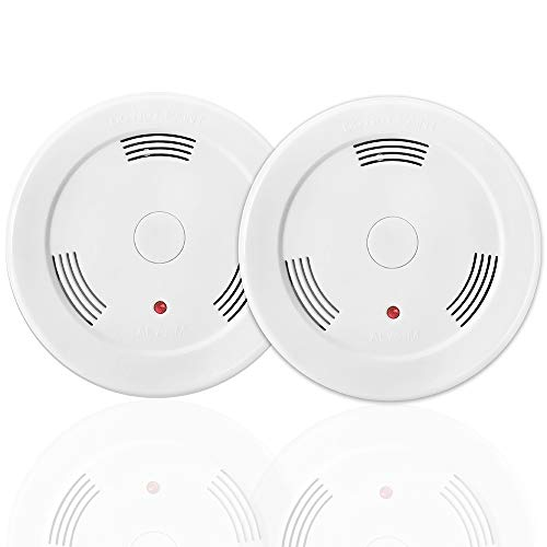 - 2 Pack 9V Battery Operated Smoke Detector and Fire Alarm with Photoelectric Sensor,Easy to Install with Test Button
