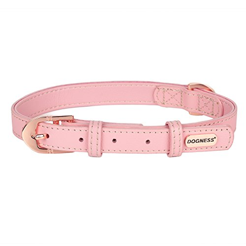 DOGNESS Leather Dog Collar, 100% Top Grade Genuine Leather with Metal Buckle, Pink, for Medium Large Dogs, Matching Leash Sold Separately (Attachment Replacement Plate Collar)