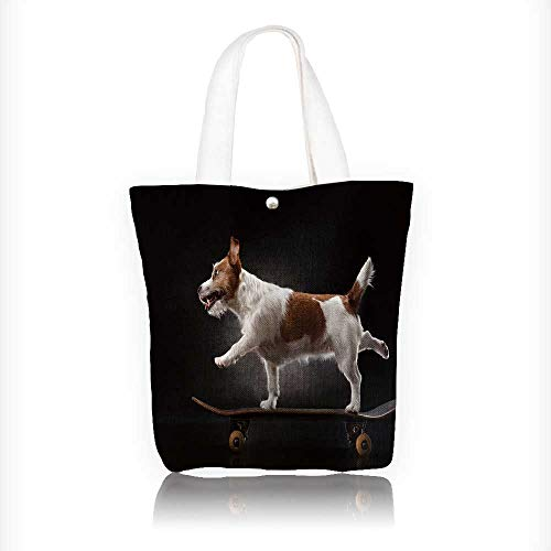 Terrier Zippered Tote - Stylish Canvas Zippered Tote Bag jack russell terrier dog rid on a skateboard Shopping Travel Tote Bag W11xH11xD3 INCH