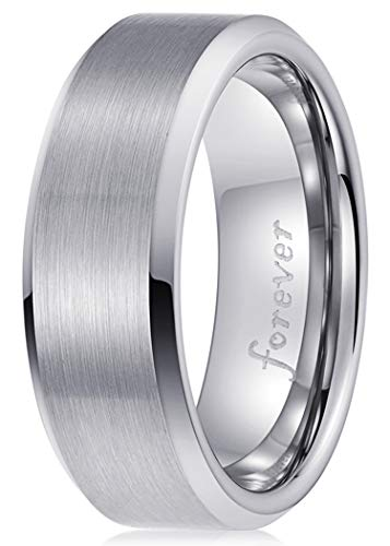 - PINONLY Classic Tungsten Carbide Ring Men Women Wedding Band 8mm Engagement Ring Comfort Fit Engraved 'Forever'