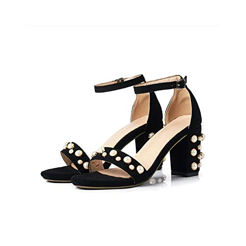 - Women's Luxury Sandals Ankle Strap Sheepskin Suede Pearl Embellished Block High Heels Vintage Style Shoes,Black,8.5