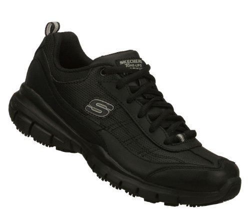 (Skechers Womens Tone Ups Work Liberate SR Slip Resistant Sneakers Wide Width Black 11 W)