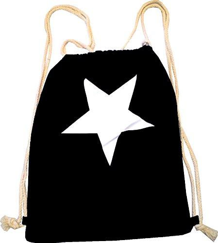 Sacs Sac à dos homme sac Hipster pour femme Noir Sac de gym Toile Marin Sac pochette en tissu enfant Sac Gym–Étoile 4756Noir