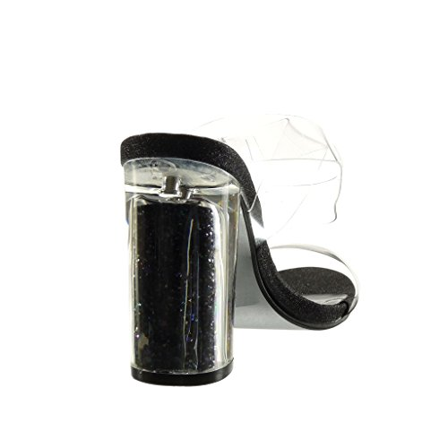 Angkorly - Scarpe da Moda sandali sexy donna trasparente paillette tanga Tacco a blocco tacco alto 10 CM - Nero
