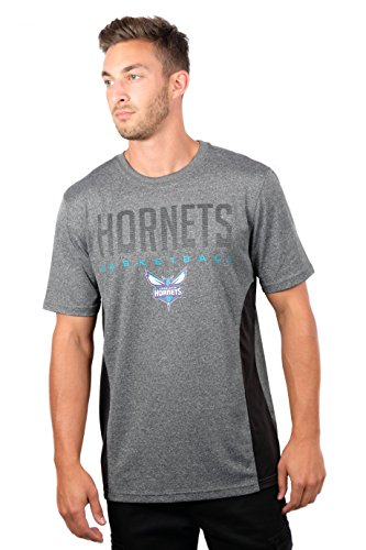 (NBA Charlotte Hornets Men's T-Shirt Athletic Quick Dry Active Tee Shirt, X-Large, Charcoal)