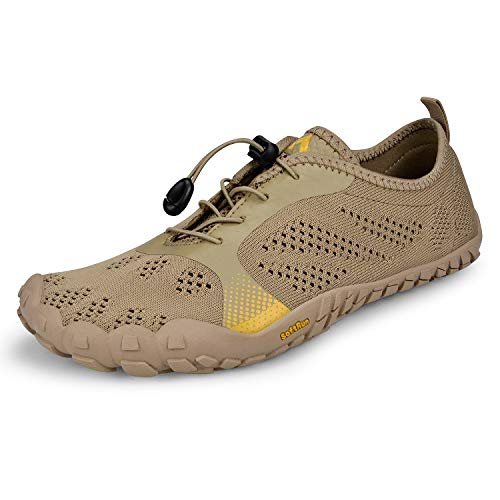 Troadlop Mesh Running Shoes Outdoor Athletic Breathable Quick-Drying Barefoot Running Shoes for Men 12 Khaki
