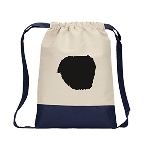 Canvas Backpack Color Drawstring Great Pyrenees Silhouette By Style In Print | Navy -