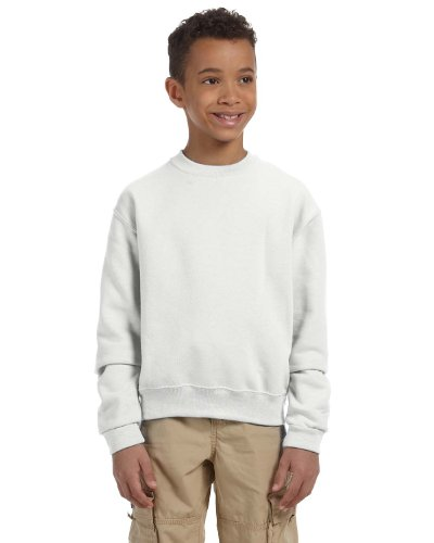 JERZEES Boys NuBlend Crewneck Sweatshirt, Large, White (Jerzees 562b Sweatshirt)