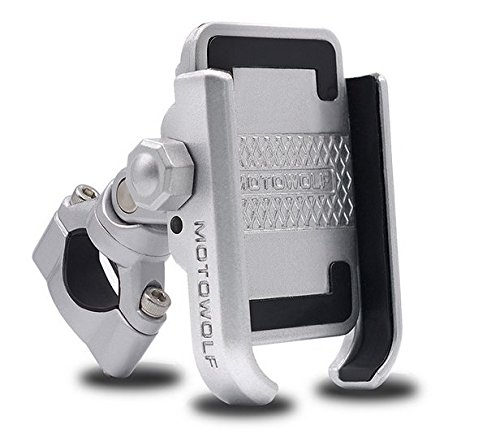Soporte De Aleación De Aluminio para Móvil, Ajustable con Bicicleta,Moto,Rotación 360 °,Anti-Deslizante Color Negro Y...