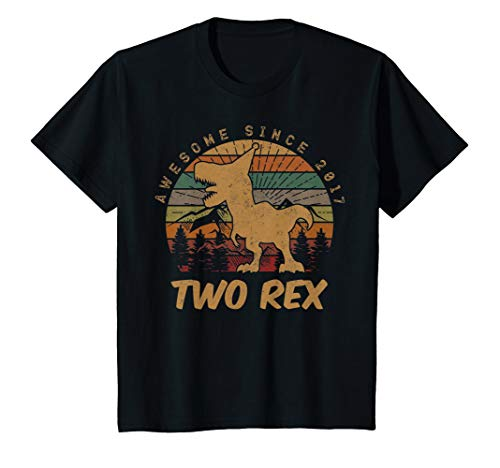 Amp White Youth T-shirt - Kids 2nd Birthday Two Rex Shirt Second Dinosaur Gifts 2 Year Old T-Shirt
