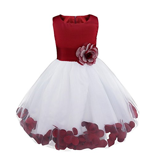 iiniim Girls Petals Tulle Princess Wedding Pageant Party Flower Girl Dress Burgundy Petals 8 (Christmas Pageant Dresses)