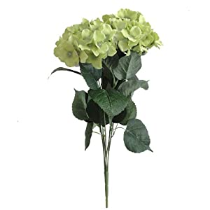 "Lily Garden 22.5"" Silk Hydrangea 7 Stems Bouquet Flower (1, Green) 60"
