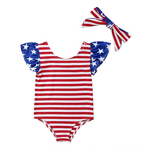 KMBANGI Infant Baby Girls 4th of July Outfit Short Sleeve Striped Romper with Headband Summer Clothes (0-3 Months, Red+White+Blue)