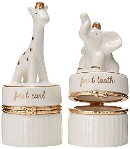 - Mud Pie Giraffe & Elephant Ceramic Tooth and Curl Set, White/Gold