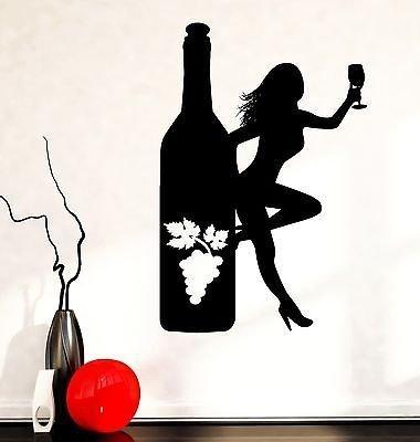 Wall Decal Naked Girl Bottle Of Wine Vine Bar Vinyl Sticker VS3597 Vine Designs Bar