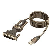 Tripp Lite USB to RS232 Serial Adapter Cable USB-A to DB25 DB9 M/M 5-Feet (U209-005-DB25) Black