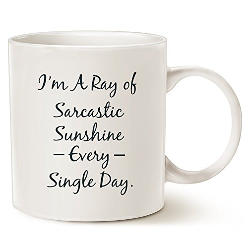- Funny Personalize Coffee Mug, Sarcastic Ray Of Sunshine Christmas Gifts, Best Mug for Lovers of Sarcasm, Ceramic Cup White, 11 Oz