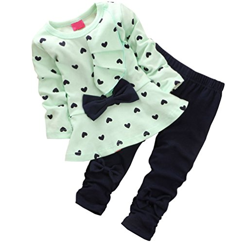 Csbks Baby Girls Long Sleeve Pant Sets Toddler Bow Sweetheart Clothing 2pcs Outfits 9-12 Months Light Green