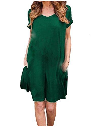 Silm Coolred Vestito All'aperto Casuale Adatta Donne Nerastro Tasche V Camicie Verde Tunica Collo 4TqTw5vr