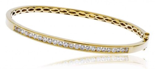 1CT Certified G/VS2 Round Brilliant Cut Channel Set Diamond Bangle in 9K Yellow Gold