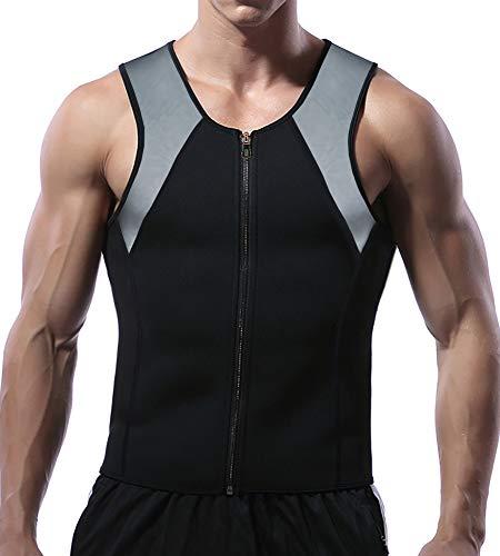 Mlxgoie Men Waist Trainer Vest for Weightloss Hot Neoprene Corset Body Shaper Zipper Sauna Sweat Tank Top Workout Shirt (Grey, XX-Large)