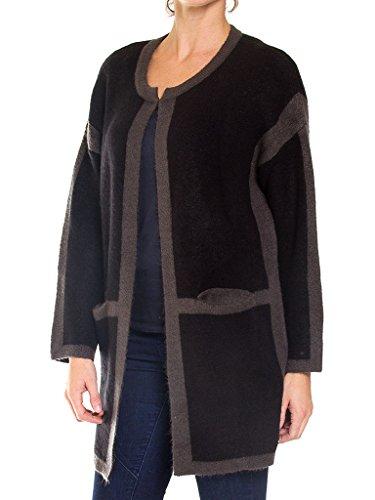 Femme Longue Bicolore Tissu 899 Taille 457 Manche Normale Jeans Pour Noir Extensible Manteau Pardessus Carrera FqR7I1nY