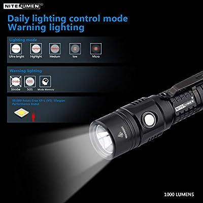 USB Rechargeable Flashlight,Super Bright,1000 Lumens Nitenumen TP CREE XP-L LED Flashlight,Compact Waterproof Flashlight with 18650 3400mAh Li-ion Battery