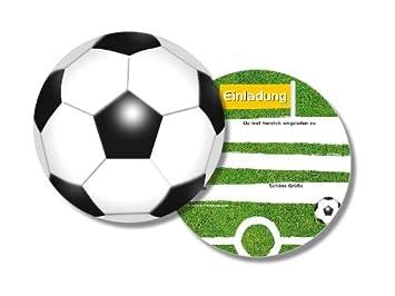 6 Runde Einladungskarten Fussball Fur Kindergeburtstag Von Dh