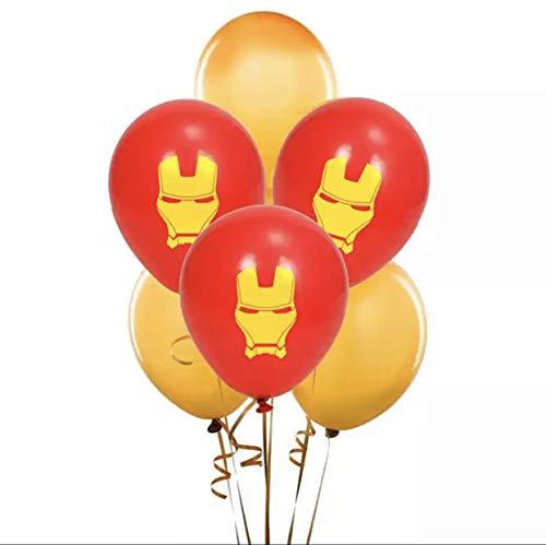 Avengers Iron Man Birthday Party Balloon Theme 8 piece Latex Set 12 Inch Super Hero emblem (Ironman Birthday Party Decoration)