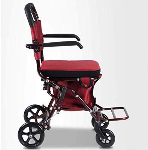 YASE-king 医療リハビリテーション椅子、車椅子、ライトオールド・マンショッピングカート折りたたみ缶シット高齢者車いす障害者トロリー