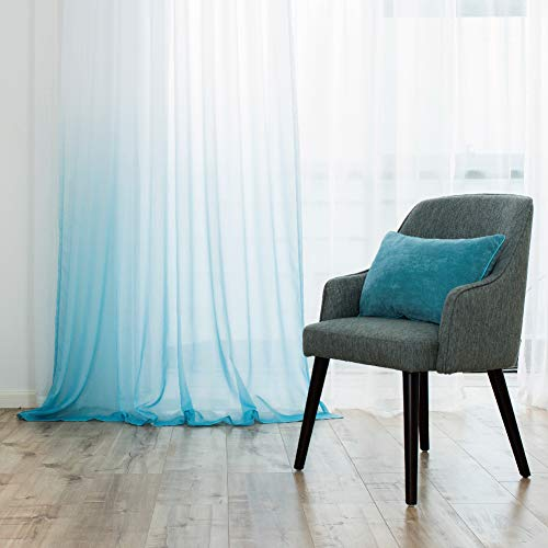Homework Ombre Voile Sheer Curtains for Bedroom Tulle Gradual Drapest Drapes Draperies Living Room Window Treatment Decoration 2 Penals, Aqua, W52 L96