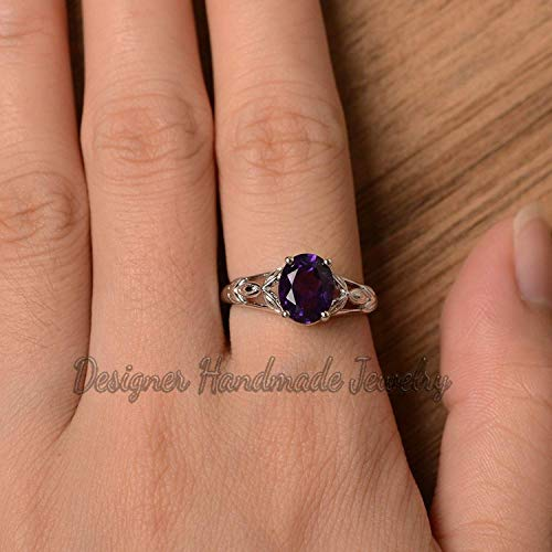 Gemstone Designer Bands - SOLID 92.5% STERLING SILVER AAA QUALITY CERTIFIED AMETHYST GEMSTONE DESIGNER BAND WOMANS STATEMENT FEBRUARY BIRTHSTONE MINIMAL RING