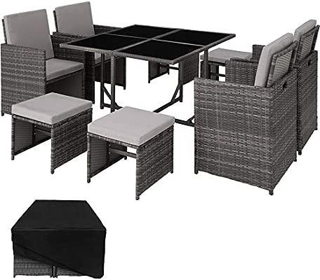 TecTake Conjunto Muebles de jardín en ratán sintético Comedor Juego 4+4+1 + Funda Completa | Tornillos de Acero Inoxidable (Gris | No. 403056)