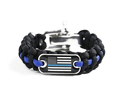 Police Lives Matter Flag Thin Blue Line Cops Paracord Survival Bracelet Adjustable Stainless Steel Shackle (8.5
