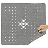 Vive Non Slip Shower Mat - Non Skid Bathtub Floor for Kids, Adults, Elderly - Square Bathroom Stall Slipmat Bath Tub Suction Grip - Washable Nonslip, PVC